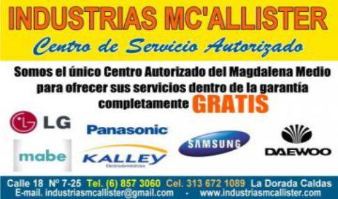 INDUSTRIAS MC'ALLISTER, Centro de Servicio Autorizado.
